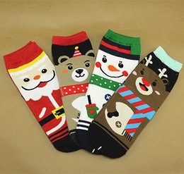 Wholesale 3D Printed Christmas Socks Soft Cotton Sock Santa Claus Deer Snowman Bear Design Winter Warm Socks Girls Women Holiday Party Accessories