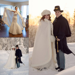 faux fur evening wraps UK - Cheap Warm Long Bridal Wraps Faux Fur For Wedding Evening Partys Prom Jackets Coats Winter White Fur Shawl Wedding