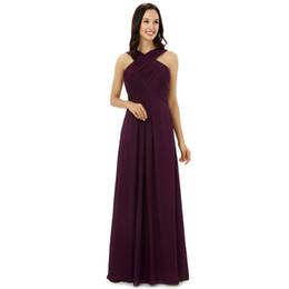 $enCountryForm.capitalKeyWord UK - Burgundy Chiffon Bridesmaid Dresses Halter Floor Length Wedding guest dress Floor Length Bridesmaid Dress Cheap