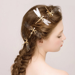 $enCountryForm.capitalKeyWord Canada - 1 pcs Popular Golden Dragonfly Hairpins Bridal Headdress Wedding Hair Accessories Transparent Wings Dragonfly Hair Clip