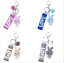 $enCountryForm.capitalKeyWord NZ - Rabbit Keyring Pendant ,Keychain ,Acrylic Rabbit,Animal Bag Charm,Phon Charm,Gifts