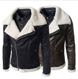 mens motorcycle jacket free shipping Canada - Wholesale free shipping hot sell Fall-Shearling Winter Coat Faux Suede Short Motorcycle Leather Jacket Mens Sheepskin Coat