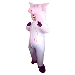 halloween blow ups 2019 - Halloween mascot Costume Inflatable Suit Pink Pig Blow Up Animal Farm Fancy Dress Costume