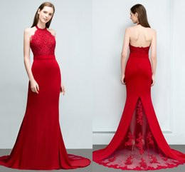 $enCountryForm.capitalKeyWord NZ - Real Images Red Elastic Satin Designer Prom Dresses Applique Floor Length Mermaid Halter Neck Evening Gowns Bridesmaid Dresses CPS798