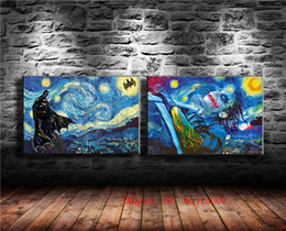 framed mural painting Australia - Batman Starry Night Vincent Van Gogh , 2P Canvas Painting Living Room Home Decor Modern Mural Art Oil Painting