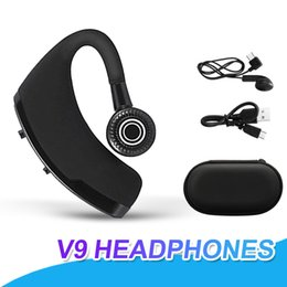 Bluetooth handsfree voice online shopping - V9 Wireless Voice Control Music Sports Bluetooth Handsfree Earphone Bluetooth Headset Headphones Noise Cancelling Headset With Package