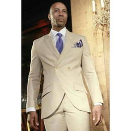 Stylish Suit Image Australia - Custom Made Champagne Men's Double Breasted Men's Casual Suits Slim Fit Stylish Simple Custom Men's Blazer (Suit + Pants)