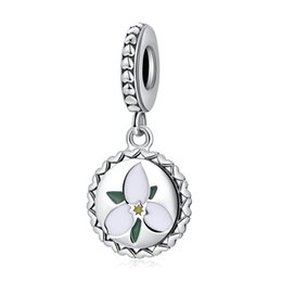authentic flowers Australia - Authentic 925 Sterling Silver Charm Bead Enamel Elegance Flower With Crystal Dangle Charms Fit Pandora Bracelets For Women DIY Fine Jewelry