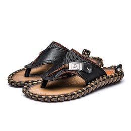 Cowhide leather sandals online shopping - New Men Genuine Leather Beach Shoes Summer Sandals Leisure Dad Cowhide Non Slip Slipper Flip Flops Outdoors High Quality lc aa