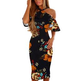 d626842e5de1 20187 Women Floral Dress Ruffles Short Sleeve Halter Dress Off The Shoulder  Midi Dresses Summer Ladies Sexy Bodycon Dress  BF