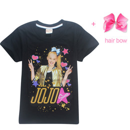China Summer Jojo Siwa Baby Girls Tshirts Short Sleeve T Shirts For Kids Bobo Choses T -Shirt With Hair Bows Child Sport Clothes 4-12y cheap sports bow hair suppliers
