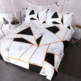 Mint green bedding sets online shopping - Irregular Geometric Printed Bedding Set Black and White Duvet Cover Set Marble Texture Bed Cover Queen Bedspreads