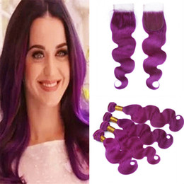 $enCountryForm.capitalKeyWord Australia - Body Wave Wavy Purple Human Hair 4 Bundles Deals with Lace Closure Purple Virgin Hair Weave Wefts Extensions and Closure
