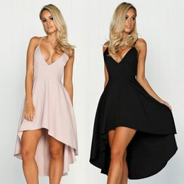 Wholesale Women Strap Irregular V Neck Dress Sexy Party Dress Backless Irregular Sleeveless Beach Boho Strapless Dresses LJJO4524