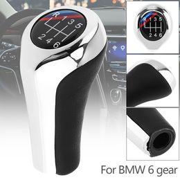 $enCountryForm.capitalKeyWord Australia - ABS Plastic + Leather Chrome Silver Manual Car Gear Shift HandBall Knob for BMW 1 3 5 6 Series   6 Gear Models CIA_304