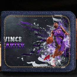 Basketball Player Cartoon NZ - Vince Carter wallet UFO player purse Basketball star short cash note case Money notecase Leather burse bag Card holders