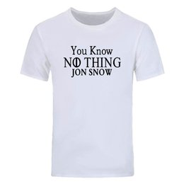 diy tee shirts Australia - You Know Nothing Jon Snow T Shirts Men Short Sleeve Game Of Thrones O Neck Cotton Man Winter Is Coming tops Tees DIY-0709D