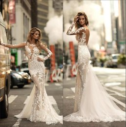 ad99e2ce69671 2018 Lace Mermaid Wedding Dresses Betra Sheer Long Sleeves Tulle Applique  Seen Through Backless Sweep Train Wedding Bridal Gowns