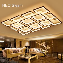 Discount rectangle led ceiling light - NEO Gleam Rectangle Remote control living room bedroom modern led ceiling lights luminarias para sala dimming led ceilin