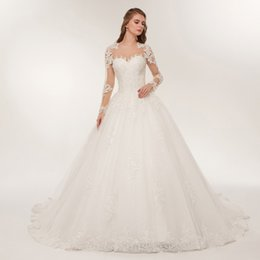 kiss beads Australia - 2019 Lover Kiss wedding dress Luxury Sheer Tulle Long Sleeve Wedding Dress Lace Beaded Mariage Bridal Gowns vestido de noiva m67
