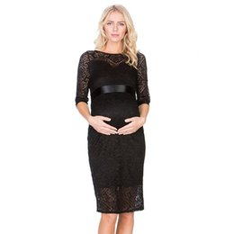 d22cfd11598 Sexy Lace Maternity Dress Half Sleeve O-Neck Two Layers Maternity Dress for Pregnancy  Evening Party Elegant Office Dress