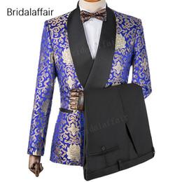 Royal Blue Yellow Suits Australia - Wonderful New Design Custom Made Groom Tuxedo Royal Blue Floral Printed Men Suit For Wedding Mens Suits 2Pcs(Jacket+Black Pants)