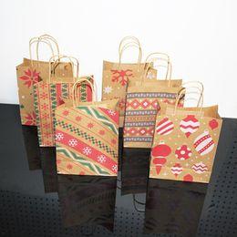 $enCountryForm.capitalKeyWord Australia - 6 Style Kraft paper Christmas Gift Bag And Food Packaging Handle Christmas Gift Bag Cookie Bag Shopping Paper Bags LX1085