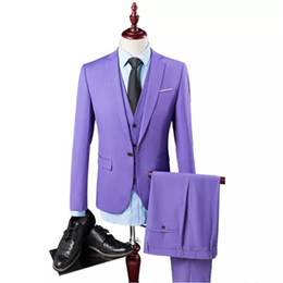 Chinese  Men's suit three-piece suit (coat + pants + vest) wedding dinner dress solid color European and American style men's suit manufacturers