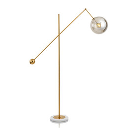Wholesale LED FLOOR LAMP Modern Indoor Lighting Living Room Lightings Morden Light Metal Electroplating Glass Ball Lampshade Marble Base