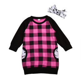 Cute Casual Spring Outfits NZ - Cute Baby Toddler Kids Girl Dress Long Sleeve Plaid Dress Casual Children Christmas Gift Cotton Vestidos Dress + Headband 2PCS Pink Outfits