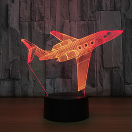 batteries usb mouse Canada - 2018 Airplane 3D Optical Illusion Lamp Night Light DC 5V USB Charging 5th Battery Wholesale Dropshipping Free Shipping