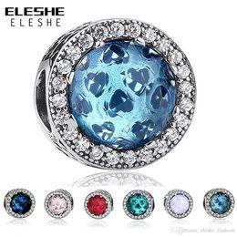 d0821e01b ... ELESHE 6 Colors Hot Sale 925 Sterling Silver Radiant Hearts Blue Beads  Charm Fit Original Pandora ...