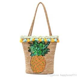 Pineapple Ananas Pattern Fringe Straw Nuove borse Europa e Stati Uniti Stile spalla borsa diagonale Paillettes Portable Beach Vacation