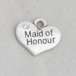 Wholesale maid love resale online - Heart Maid Of Honour Alloy Double Side Wedding Bridal Charms Message Letter Charms mm AAC1917