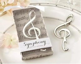 "symphony chrome music note bottle opener 2019 - 100pcs lot Unique Wedding Favors ""Symphony"" Chrome Music Note Bottle Opener wedding gift Silver DHL Freeshippi"
