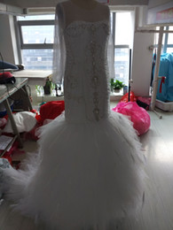 portrait neckline 2019 - 2018 Berta Bridal Gowns Mermaid Long Sleeve Wedding Dresses Illusion Crystal Feahter Wedding Gowns Plunging Neckline Ves