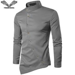 $enCountryForm.capitalKeyWord UK - VISADA JAUNA 2018 New Men's Fashion Cotton Long Sleeved Shirt Solid Color Slim Fit Shirts Men Casual Irregular Man Dress N8931