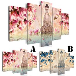 panel buddha oil paintings NZ - Wall Art Picture Printed Oil Painting Unframed Home Decor Extra Mirror Border Buddha and Peach Blossom