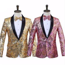 Mens Pink Gold Sequins Fancy Paillette Boda Cantante Escenario Traje Traje Chaqueta con pajarita