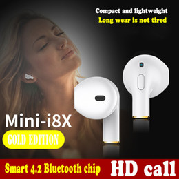 Discount invisible wireless earbud - Luxury Mini I8X Bluetooth Earphone Wireless Headset Invisible Earbud Sports Stereo Smart Music with Mic Headphone For iP