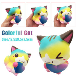 fox toys children UK - 12cm Squishy Cute Cartoon Heart Cat Fox Slow Rising Cream Scented Squeeze Toy Decompression Toys For Children Adults Relieves