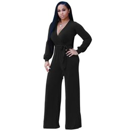 Discount long sleeve loose jumpsuit - Pottis Sexy Women Lace-up Jumpsuit Deep V-neck Long Sleeves Belt Wide Legs Solid Elegant Loose Casual Romper Body Suits