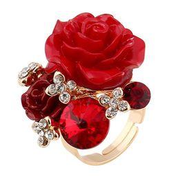 Adjustable White Gold Diamond Ring UK - 2018 new rings for women luxury diamond rose ring fashion jewelry korean rings wedding rings wholesale vintage rose sweet adjustable ring