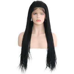 China Hot Selling African Style Black Braids Synthetic Lace Front Wigs Handmade 24'' 2X Twist Braided Wigs With Baby Hair Natural Wigs For Women supplier braiding styles for black hair suppliers