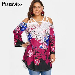 Wholesale long tunic tops women online – PlusMiss Plus Size Floral Print Boho Cold Shoulder Tunic Long Tops XL Flower Loose Blouse XXXXL XXXL XXL Women Big Size Autumn