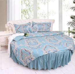 Corner Beds Canada - Round corner Bed Brief Blue Stripe Bedding kit super california king size COTTON Duvetcover pillowcase Bedskrit set Round lace Bedding sets