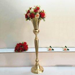98 cm Tall Vintage Çiçek Vazo Pot Metal Trompet Vazo Düğün Evlilik Töreni Yıldönümü Merkezinde Süslemeleri Olay Koridor Dekor