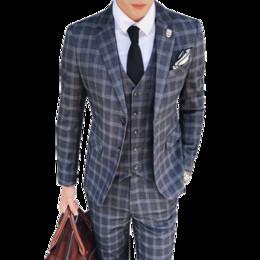 Dark Blue Suits Australia - High-grade Men Plaid Suit Three-piece Set Grey Dark Grey Blue Fashion Business Hotel Banquet Mens Dress Suits Comfortable and Elegant