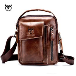 Genuine Leather men s Crossbody bag Vintage cow leather man Messenger Bags  Small Shoulder bag for male Casual handbag 338e8321a9