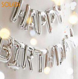 Groihandel Mode selbst aufblasenden Ballon Geburtstag Banner Ballon alles Gute zum Geburtstag Luftballons schöne Folie goldene Silber 13 Buchstaben Banner